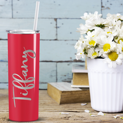 Cuptify Personalized Engraved 20 oz Skinny Tumbler - Red Gloss