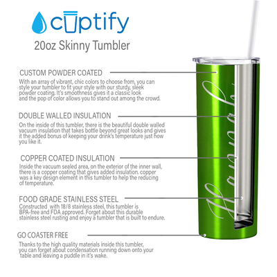 Cuptify Personalized Engraved 20 oz Skinny Tumbler - Green Translucent