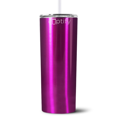Personalized RN Nurse Life Pulse 20 oz Skinny Tumbler - Hot Pink Translucent