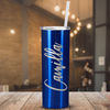Cuptify Personalized Engraved 20 oz Skinny Tumbler - Intense Blue Translucent