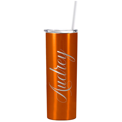 Cuptify Personalized Engraved 20 oz Skinny Tumbler - Orange Translucent