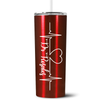 Personalized RN Nurse Life Pulse 20 oz Skinny Tumbler - Red Translucent