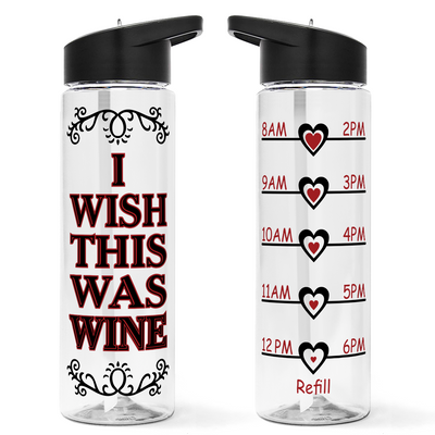 Wish This Was Wine 24 oz Motivational Tracking Water Bottle
