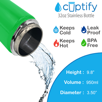 Cuptify 32 oz Stainless Steel Bottle - Neon Green