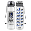 Personalized Thin Blue Line Police Knight on Black 32 oz Motivational Tracking Water Bottle