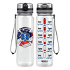 Paramedic Fire Department American Badge on Black 32 oz Motivational Tracking Water Bottle