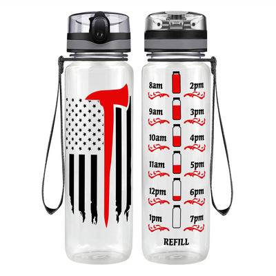 Firefighter Axe Flag 32 oz Motivational Tracking Water Bottle