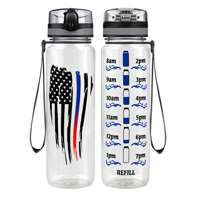 Wavey Blue Red Thin Line Flag on Black 32 oz Motivational Tracking Water Bottle