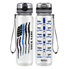 Personalized Thin Blue Line Police Flag on Black 32 oz Motivational Tracking Water Bottle