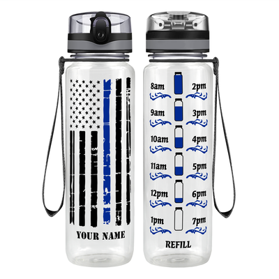 Personalized Distressed Thin Blue Line Flag 32 oz Motivational Tracking Water Bottle