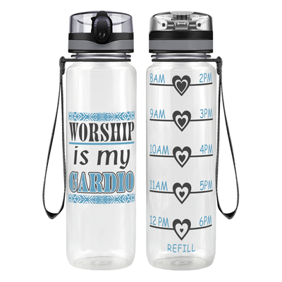 Worship Cardio 32 oz Motivational Tracking Water Bottle