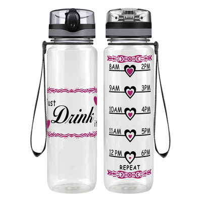 Just Drink It Heart 32 oz Motivational Tracking Water Bottle
