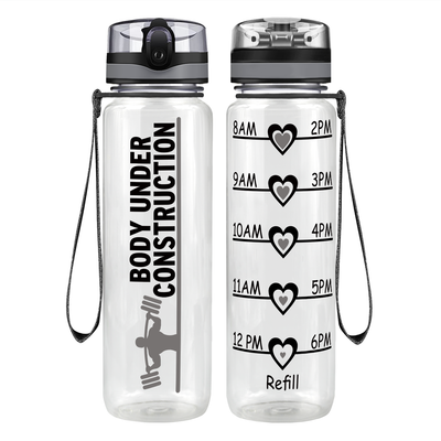 Gym Body Under Construction 32 oz Motivational Tracking Water Bottle