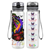 Let It Be Colorful Butterflies 32 oz Motivational Tracking Water Bottle