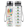 Colorful Autism Crayons 32 oz Motivational Tracking Water Bottle