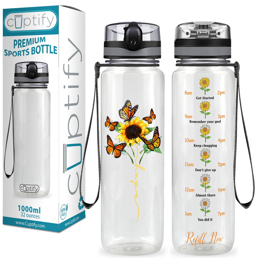 SunFlower Butterflies 32 oz Motivational Tracking Water Bottle