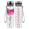 Breast Cancer Hope Butterfly 32 oz Motivational Tracking Water Bottle