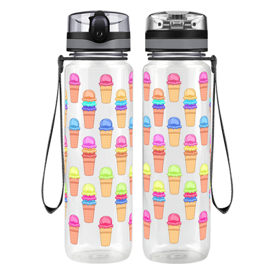 Colorful Ice Cream Cones 32 oz Motivational Tracking Water Bottle