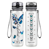 Personalized Confident Inspirational Blue Butterfly 32 oz Motivational Tracking Water Bottle