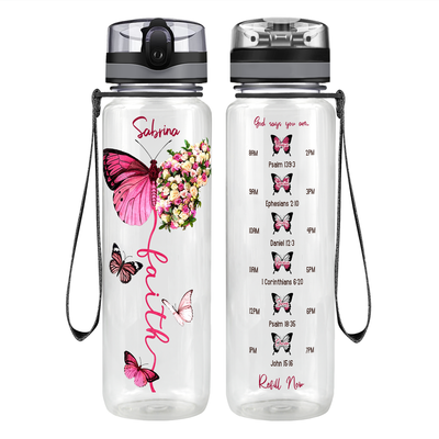 Personalized Faith Inspirational Pink Butterfly 32 oz Motivational Tracking Water Bottle