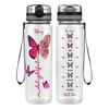 Personalized Delightful Inspirational Inspirational Pink Butterfly 32 oz Motivational Tracking Water Bottle