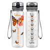 Personalized Passion Inspirational Peach Butterfly 32 oz Motivational Tracking Water Bottle