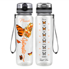 Personalized Optimistic Inspirational Orange Butterfly 32 oz Motivational Tracking Water Bottle