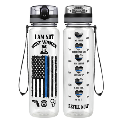 I am not Most Women 32 oz Motivational Tracking Water Bottle