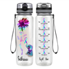 Never Give Up Elephant Flower 32 oz Motivational Tracking Water Bottle