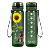 Shepherd Puppy You are my Sunshine on Army Green 32 oz Motivational Tracking Water Bottle