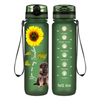 Shepherd Puppy You are my Sunshine on Army Green Frosted 32 oz Motivational Tracking Water Bottle
