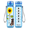 Shepherd Puppy You are my Sunshine on Baby Blue 32 oz Motivational Tracking Water Bottle