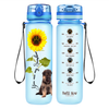 Shepherd Puppy You are my Sunshine on Baby Blue Frosted 32 oz Motivational Tracking Water Bottle