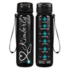 Personalized Nurse Heart on Black 32 oz Motivational Tracking Water Bottle