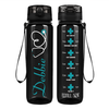 Personalized Nurse Stethoscope on Black 32 oz Motivational Tracking Water Bottle