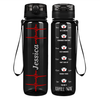 Personalize Heart Beat Pulse on Black 32 oz Motivational Tracking Water Bottle