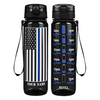 Personalized Police Thin Blue Line Flag on Black 32 oz Motivational Tracking Water Bottle