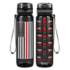 Thin Red Line Flag on Black 32 oz Motivational Tracking Water Bottle