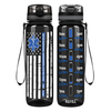 Distressed EMT Thin Blue Line Flag on Black 32 oz Motivational Tracking Water Bottle