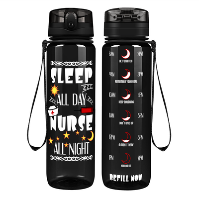 Sleep All Day Nurse All Night on Black 32 oz Motivational Tracking Water Bottle