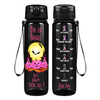 Big or Small Lets Save Them All Breast Cancer Awareness on Black 32 oz Motivational Tracking Water Bottle