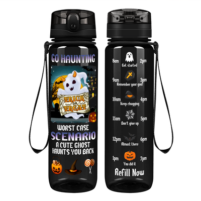 Go Haunting Worst Case Scenario on Black 32 oz Motivational Tracking Water Bottle