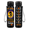 Be Happy as a Witch in a Broom Factory on Black 32 oz Motivational Tracking Water Bottle
