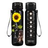 Shepherd Puppy You are my Sunshine on Black 32 oz Motivational Tracking Water Bottle