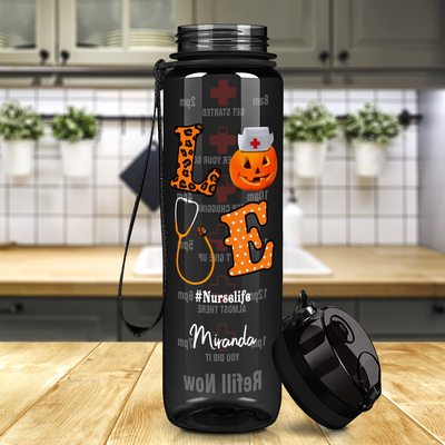 Love Halloween Nurse on Black 32 oz Motivational Tracking Water Bottle