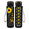You are my Sunshine on Black 32 oz Motivational Tracking Water Bottle