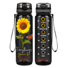 Everything's Gonna be Alright Sunflower on Black 32 oz Motivational Tracking Water Bottle