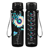 Accept Understand Love Autism Sunflower on Black 32 oz Motivational Tracking Water Bottle
