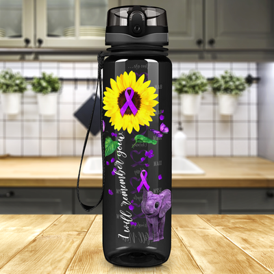 I Will Remember You Sunflower Purple Ribbon on Black 32 oz Motivational Tracking Water Bottle