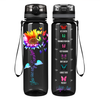 You are my Sunshine Rainbow SunFlower on Black 32 oz Motivational Tracking Water Bottle
